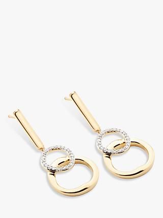 Modern Rarity Diamond Linked Hoop Drop Earrings