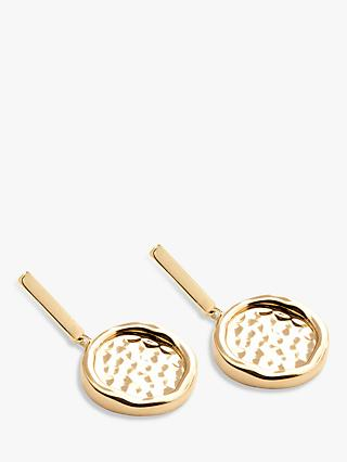 Modern Rarity Hammered Disc Drop Earrings, Gold