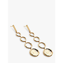 Buy Modern Rarity Long Hoop and Hammered Disc Drop Earrings, Gold Online at johnlewis.com