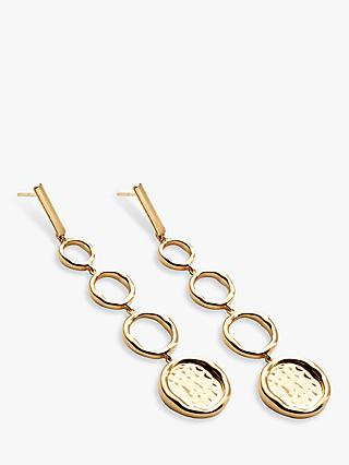 Modern Rarity Long Hoop and Hammered Disc Drop Earrings, Gold