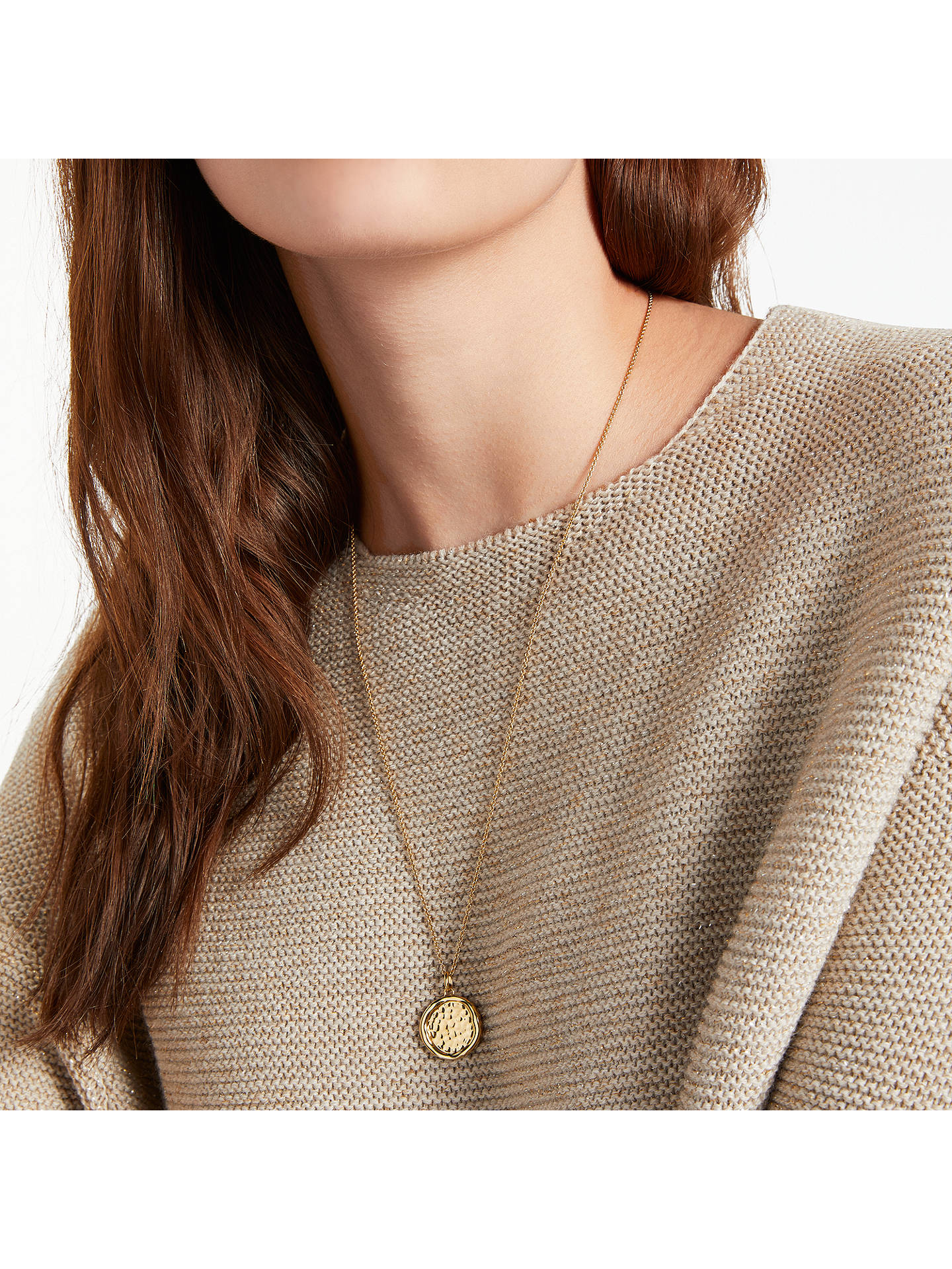 BuyModern Rarity Hammered Disc Pendant Necklace, Gold Online at johnlewis.com