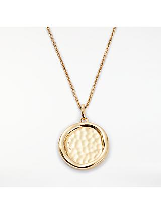 Modern Rarity Hammered Disc Pendant Necklace, Gold
