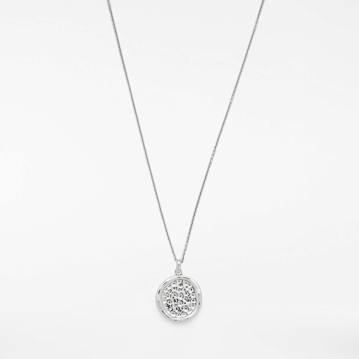 BuyModern Rarity Hammered Disc Pendant Necklace, Silver Online at johnlewis.com