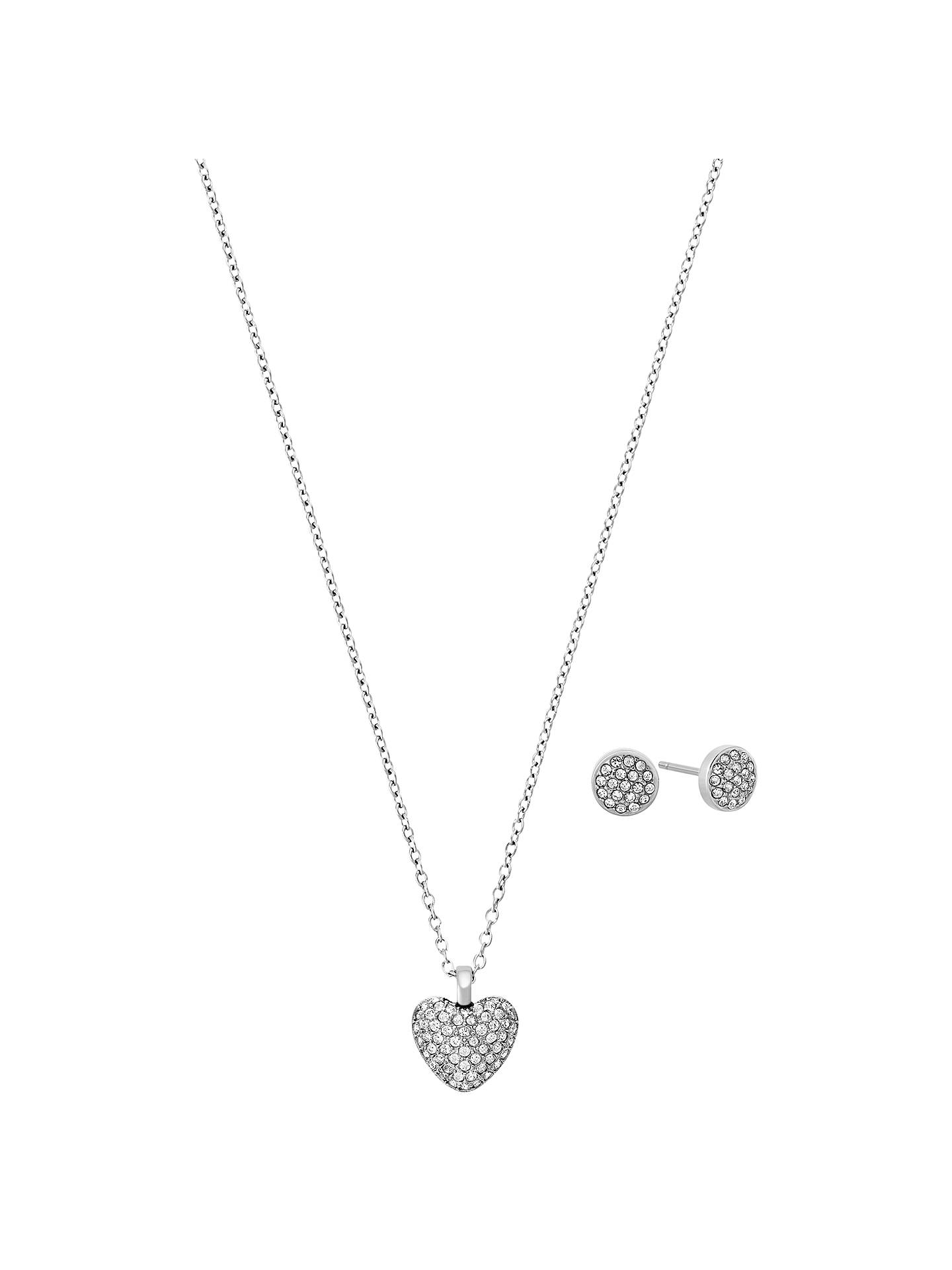 Michael Kors Heart Pendant Necklace And Round Stud Earrings Jewellery Gift Set Silver Online At