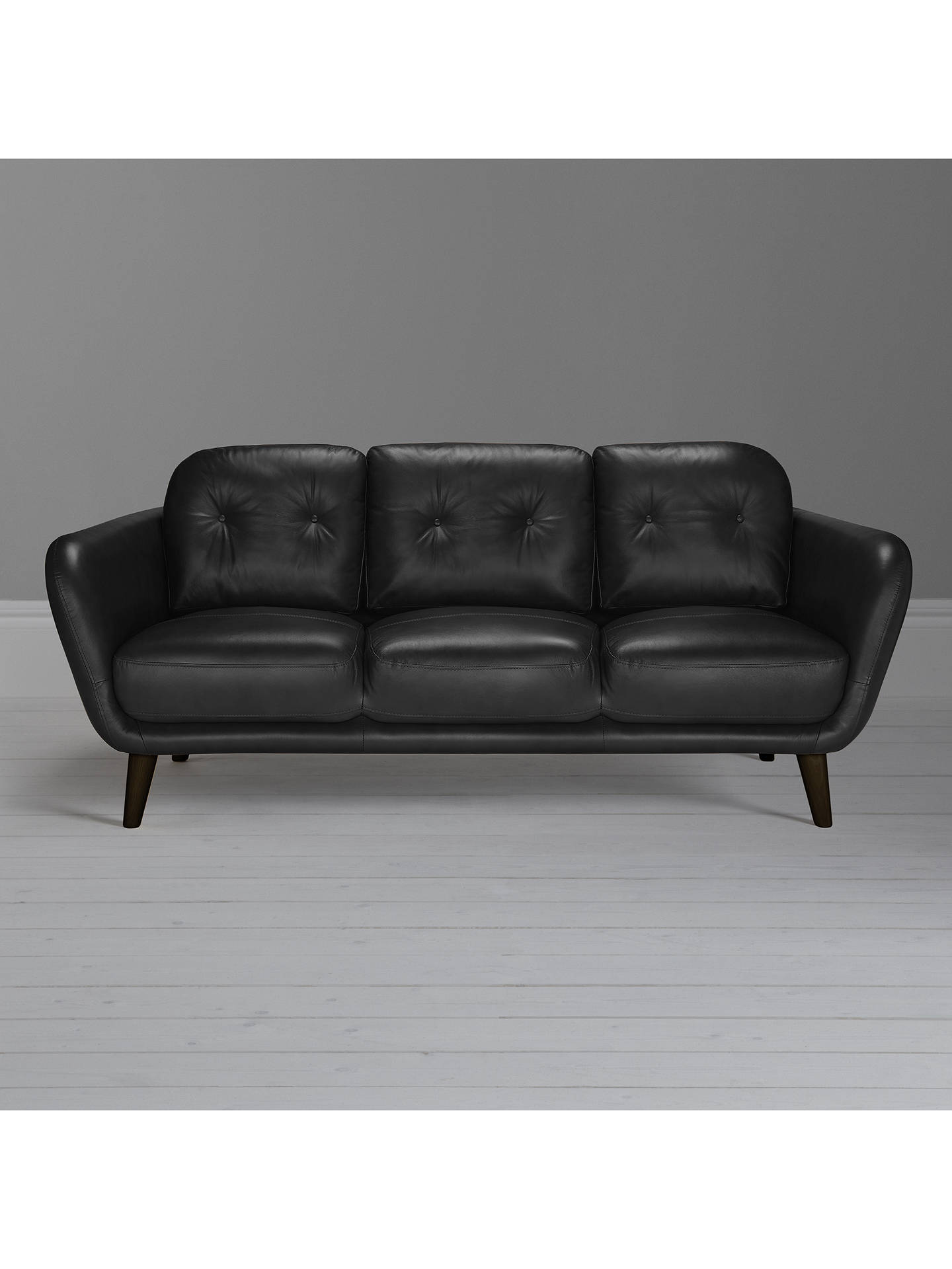 Buy House by John Lewis Arlo Leather Large 3 Seater Sofa, Dark Leg, Contempo Black Online at johnlewis.com