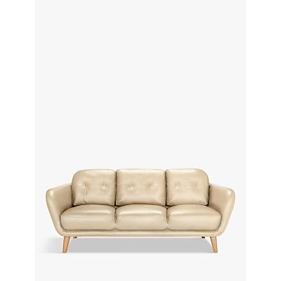 House by John Lewis Arlo Leather Large 3 Seater Sofa, Dark Leg