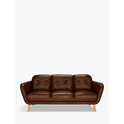 House by John Lewis Arlo Leather Large 3 Seater Sofa, Dark Leg