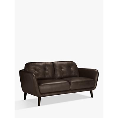House by John Lewis Arlo Leather Medium 2 Seater Sofa, Dark Leg