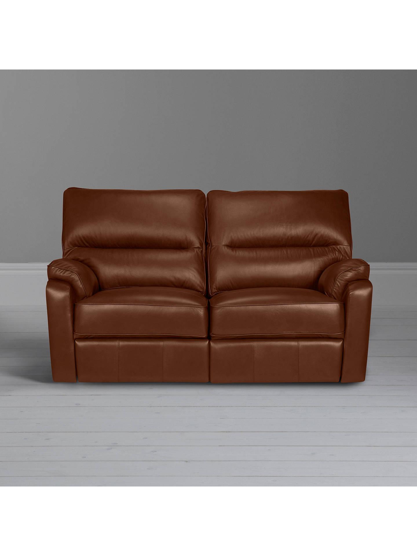 John Lewis & Partners Carlisle Small 2 Seater Power Recliner Leather Sofa,  Contempo Castanga