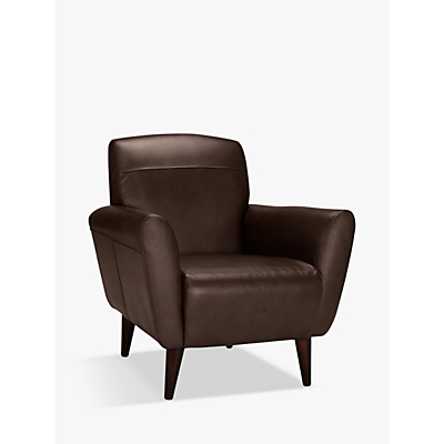 John Lewis Albie Leather Chair, Dark Leg