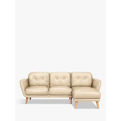 House by John Lewis Arlo Leather RHF Chaise End Sofa, Dark Leg