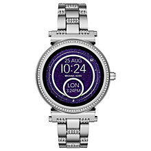 Buy Michael Kors Access MKT5036 Women's Sofie Bracelet Strap Touchscreen Smartwatch, Silver/Night Blue Online at johnlewis.com