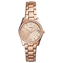 Buy Fossil Women's Scarlette Crystal Date Bracelet Strap Watch Online at johnlewis.com