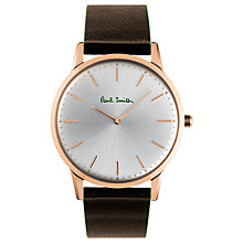 Buy Paul Smith PS0100002 Men's Slim Leather Strap Watch, Brown/Silver Online at johnlewis.com