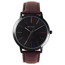 Buy Paul Smith P10090 Men's Ma Leather Strap Watch, Brown/Black Online at johnlewis.com