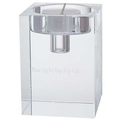 Dartington Crystal Personalised Combo Cube Candle Holder, Large, Gabriola Font