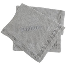 Buy My 1st Years Personalised Square Knitted Blanket, Grey Online at johnlewis.com