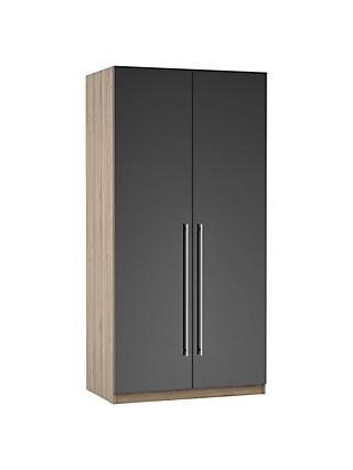 ANYDAY John Lewis & Partners Mix it Long T-bar Handle Double Wardrobe, Gloss Steel/Grey Ash
