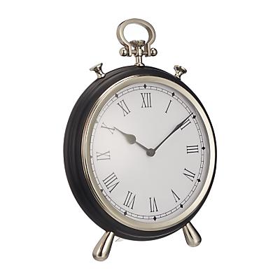John Lewis Large Round James Table Clock, H30cm, Black