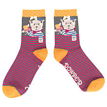 Buy Powder French Westie Terrier Dog Ankle Socks, Plum Online at johnlewis.com