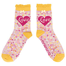 Buy Powder Love and Flower Print Ankle Socks, Pink/Multi Online at johnlewis.com