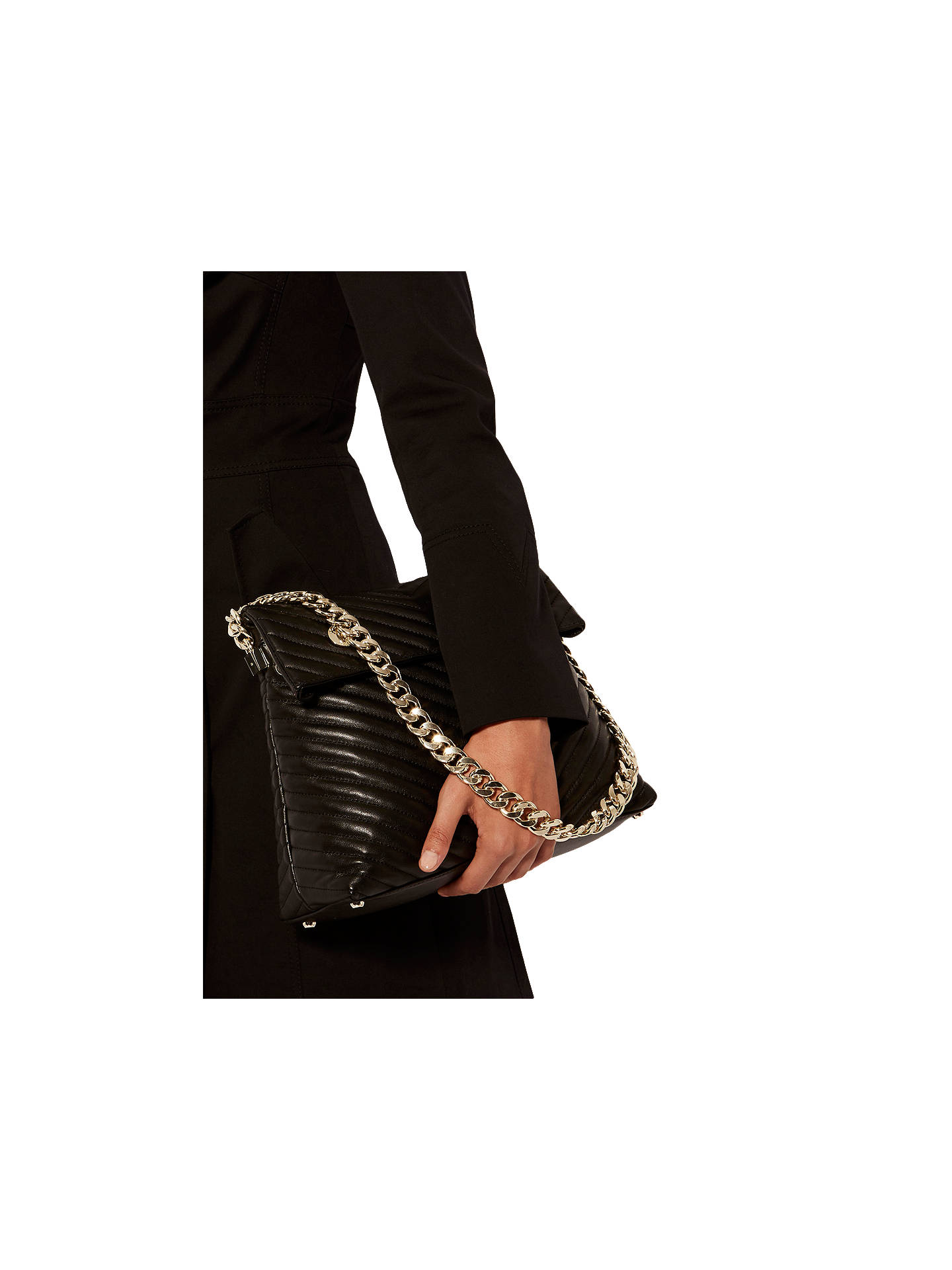 a5f1ae43399 ... Buy Karen Millen Leather Regent Chain Bag, Black Online at  johnlewis.com ...