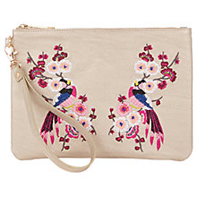 Buy Oasis Kimono Embroidered Clutch Bag, Mid Grey Online at johnlewis.com