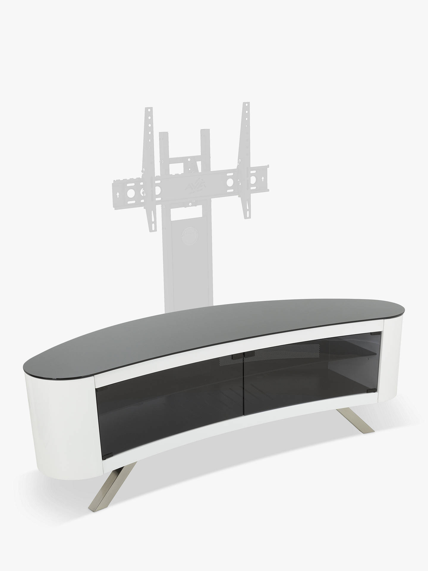 "BuyAVF Affinity Premium Bay 1500 Curved TV Stand For TVs Up To 70"", Gloss White Online at johnlewis.com"