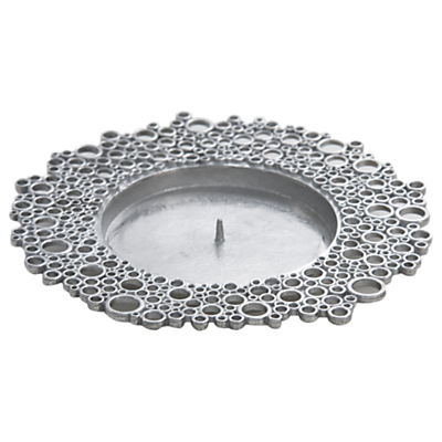 Lancaster and Gibbings Circles Pillar Candle Holder, Silver