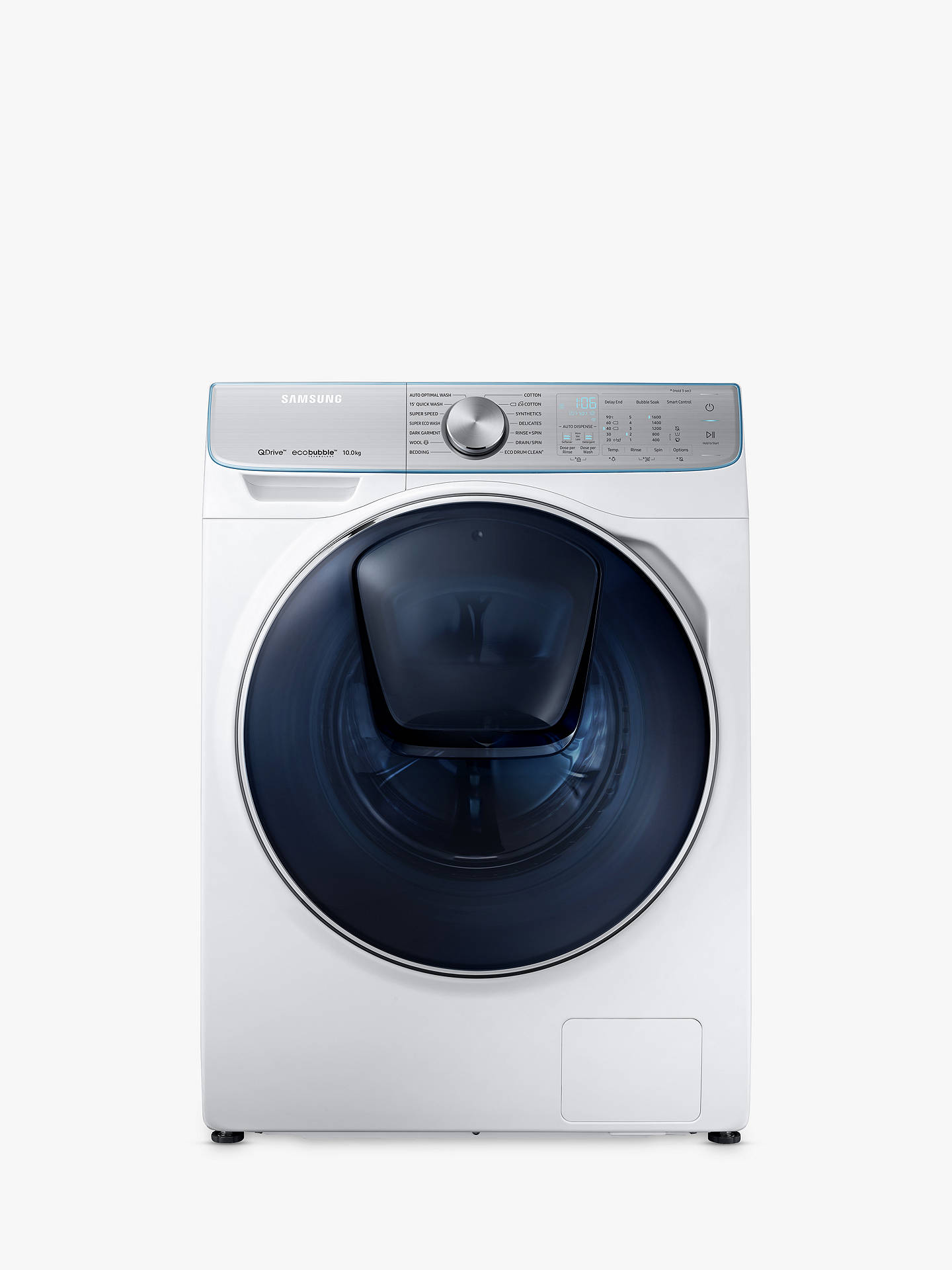 BuySamsung WW10M86DQOA/EU Freestanding QuickDrive Washing Machine, 10kg Load, A+++ Energy Rating, 1600rpm Spin, White Online at johnlewis.com