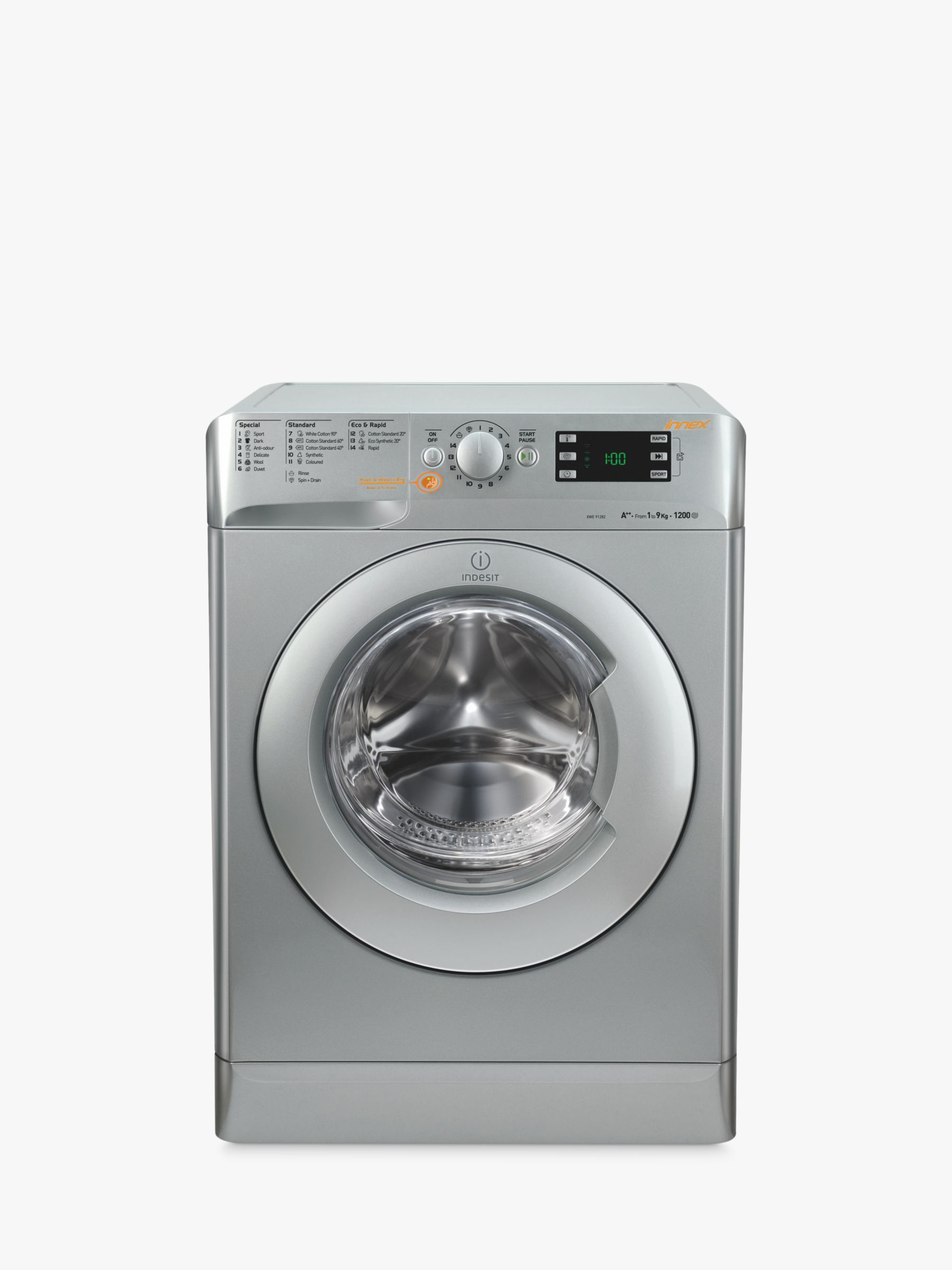 Indesit Indesit XWDE861480XS Washer Dryer, 8kg Wash/6kg Dry Load, A Energy Rating, 1400rpm Spin, Silver