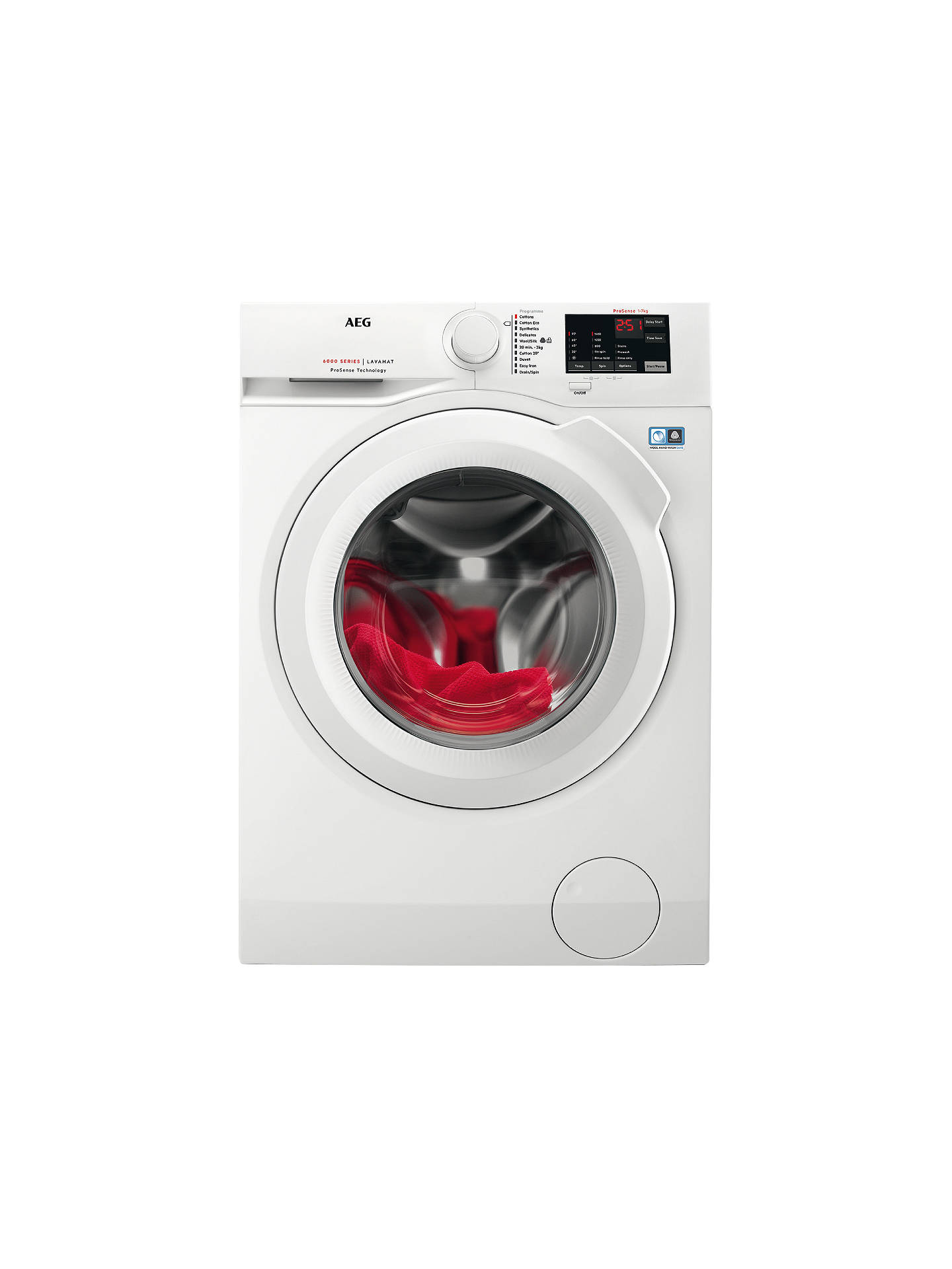 Buy AEG L6FBI741N Freestanding Washing Machine, 7kg Load, A+++ Energy Rating, 1400rpm Spin, White Online at johnlewis.com