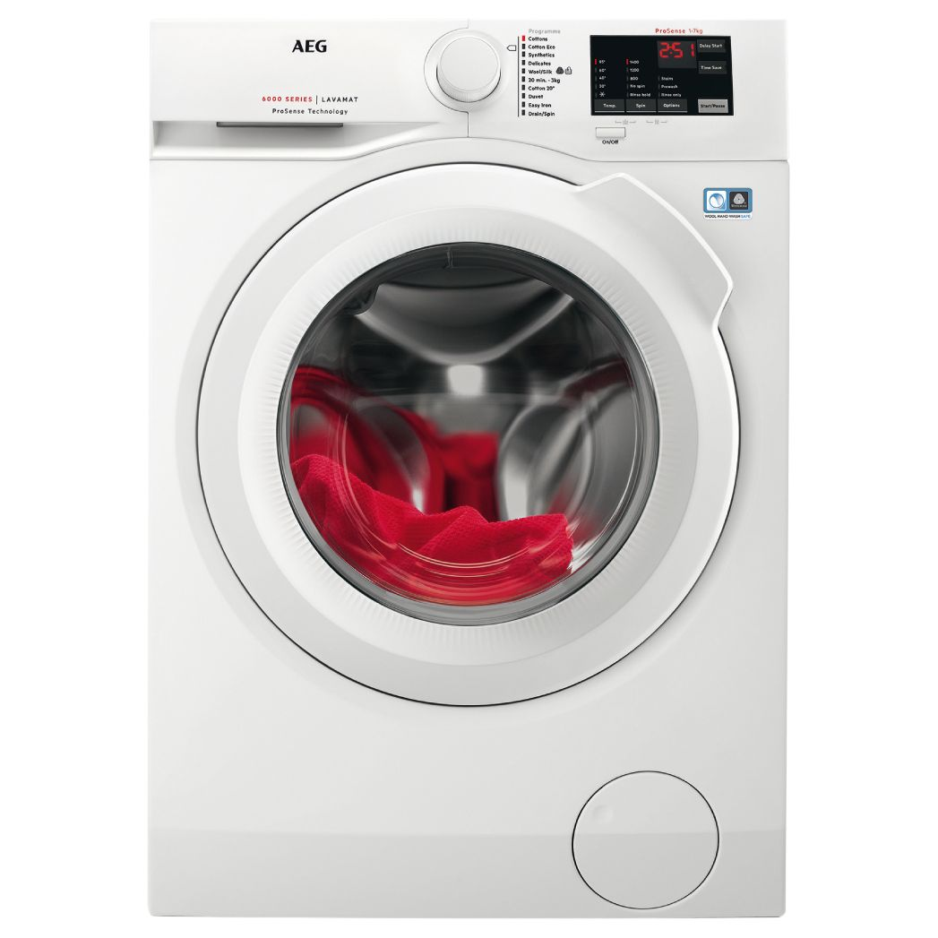 AEG AEG L6FBI741N Freestanding Washing Machine, 7kg Load, A+++ Energy Rating, 1400rpm Spin, White