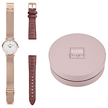 Buy CLUSE by Negin Mirsalehi CLG006 Women's Minuit Limited Edition Velvet Strap Watch Gift Set, Pink/White Online at johnlewis.com