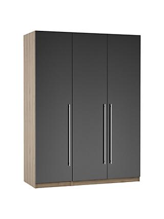 ANYDAY John Lewis & Partners Mix it Long T-bar Handle Triple Wardrobe, Gloss Steel/Grey Ash