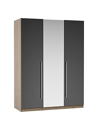 ANYDAY John Lewis & Partners Mix it Long T-bar Handle Mirrored Triple Wardrobe, Gloss Steel/Grey Ash