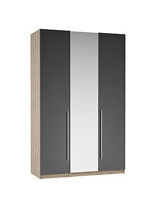 ANYDAY John Lewis & Partners Mix it Tall Long T-Bar Handle Mirrored Triple Wardrobe, Gloss Steel/Grey Ash