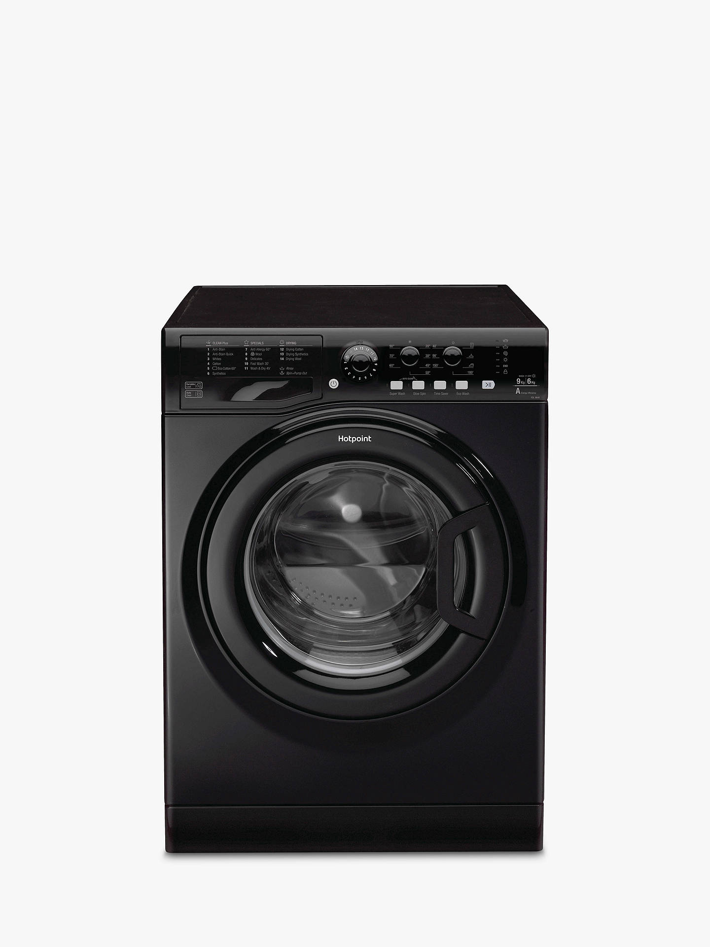 Hotpoint FDL9640KUK Aquarius Washer Dryer, 9kg Wash/6kg Dry Load, A Energy Rating, 1400rpm Spin, Matte Black