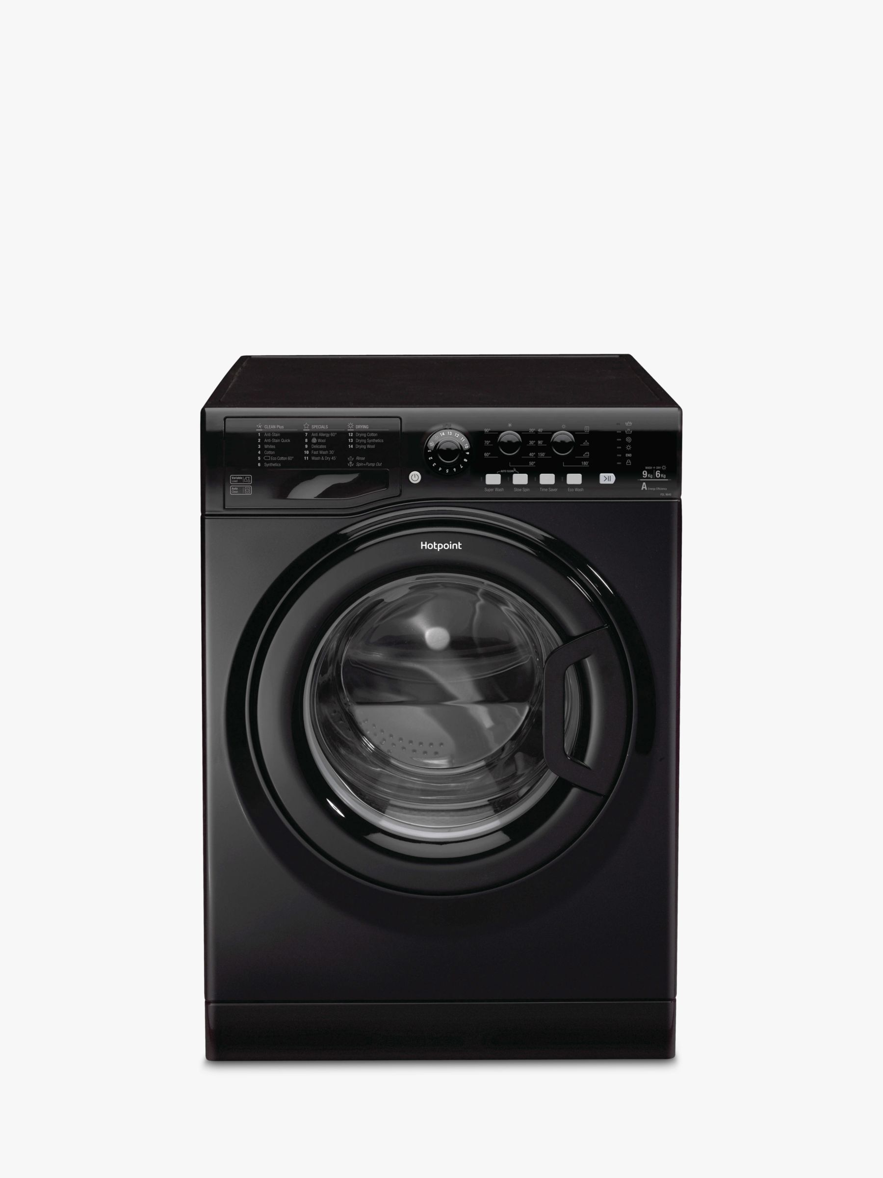 Hotpoint Hotpoint FDL9640KUK Aquarius Washer Dryer, 9kg Wash/6kg Dry Load, A Energy Rating, 1400rpm Spin, Matte Black