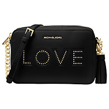 "Buy MICHAEL Michael Kors Ginny Leather ""Love"" Cross Body Camera Bag, Black Online at johnlewis.com"