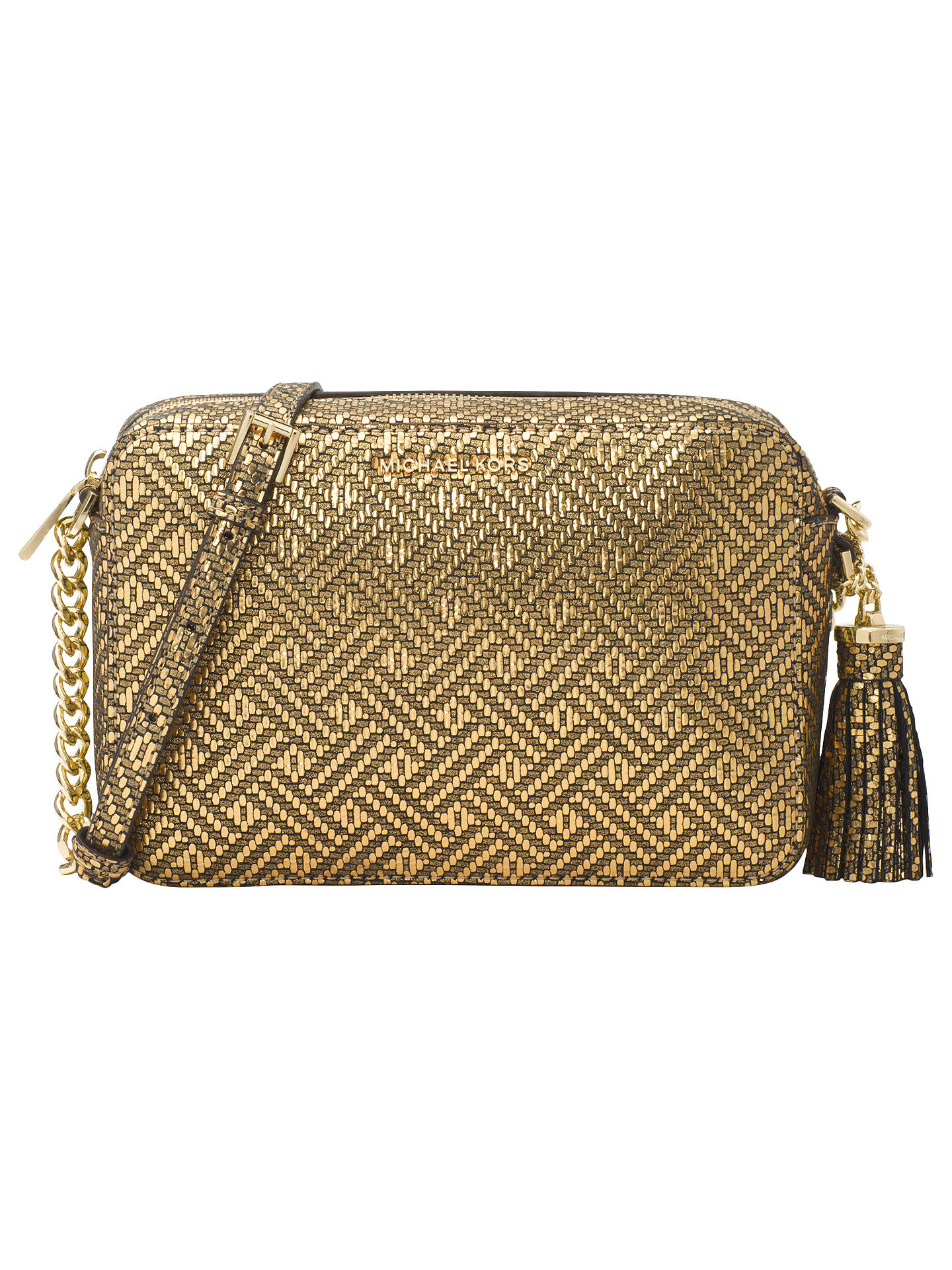 150782fb39cf15 Buy MICHAEL Michael Kors Ginny Leather Cross Body Camera Bag, Gold Online at  johnlewis.