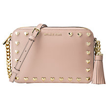 Buy MICHAEL Michael Kors Studded Ginny Leather Cross Body Camera Bag, Soft Pink Online at johnlewis.com