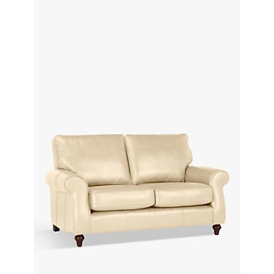 John Lewis Hannah Leather Medium 2 Seater Sofa, Dark Leg, Contempo Ivory