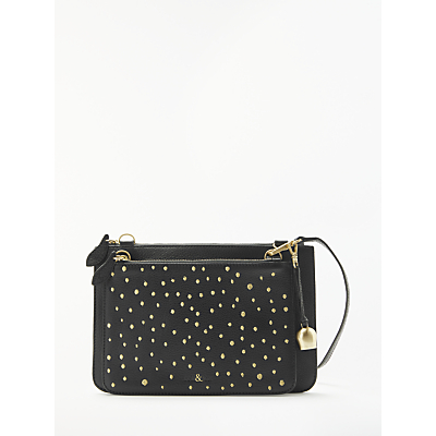 bell&fox Embellished Double Clutch/Crossbody Bag, Black/Gold