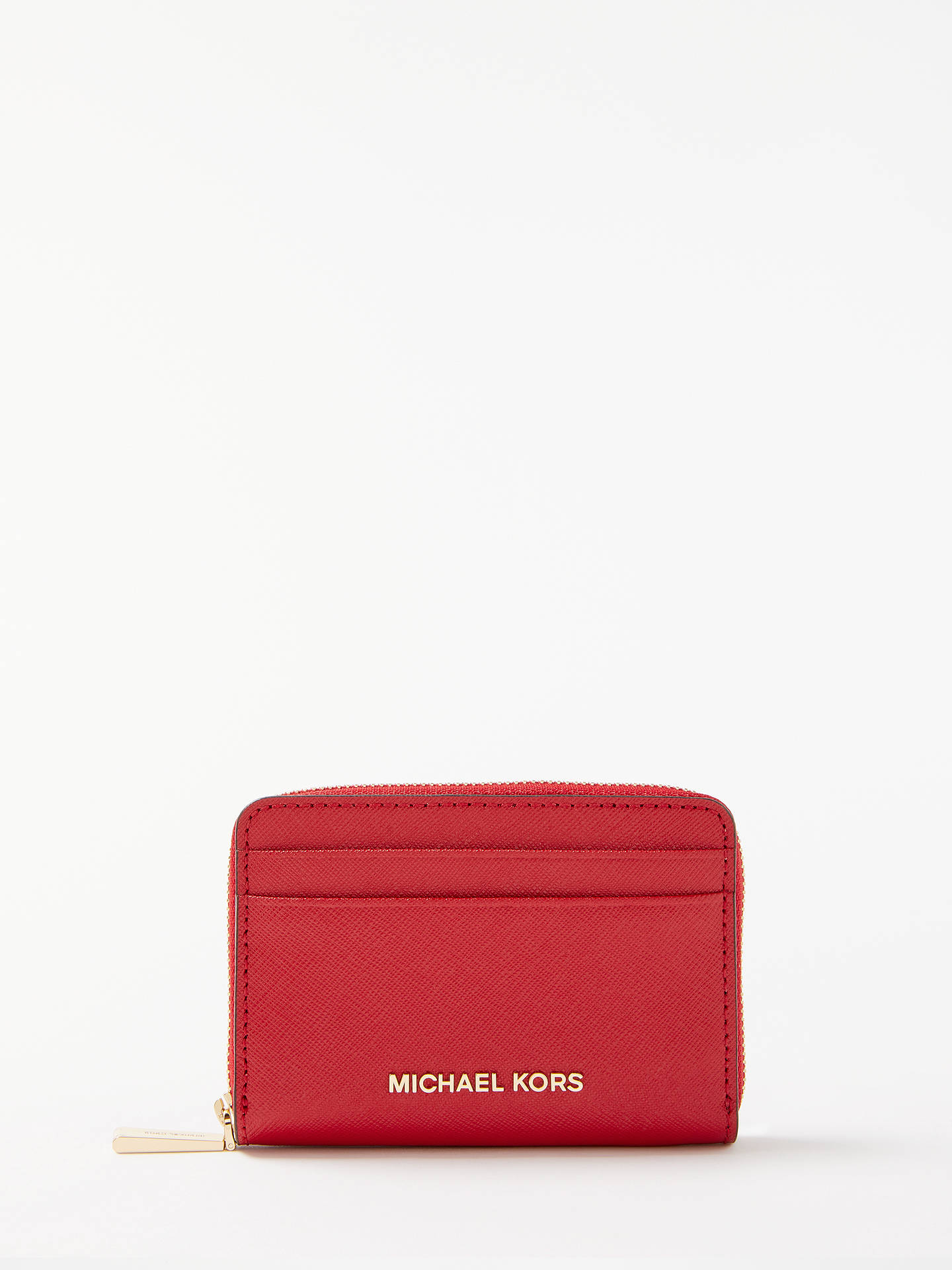4e36926460c8 Buy MICHAEL Michael Kors Money Pieces Leather Card Purse, Bright Red Online  at johnlewis.