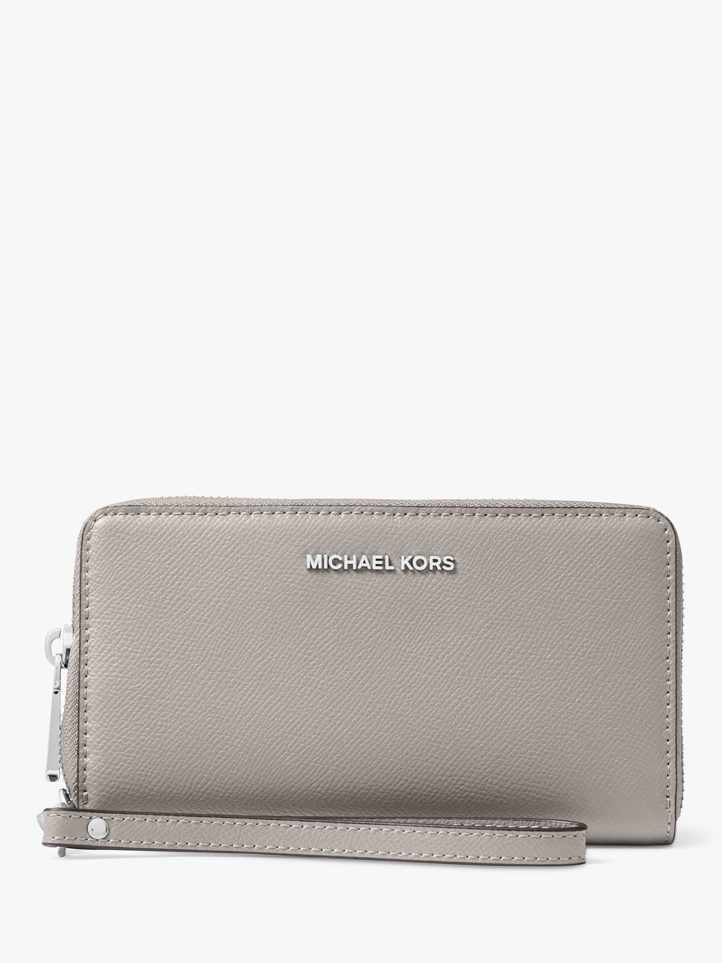 7b12265a07db Buy MICHAEL Michael Kors Mercer Large Leather Phone Case Purse, Pearl Grey  Online at johnlewis ...