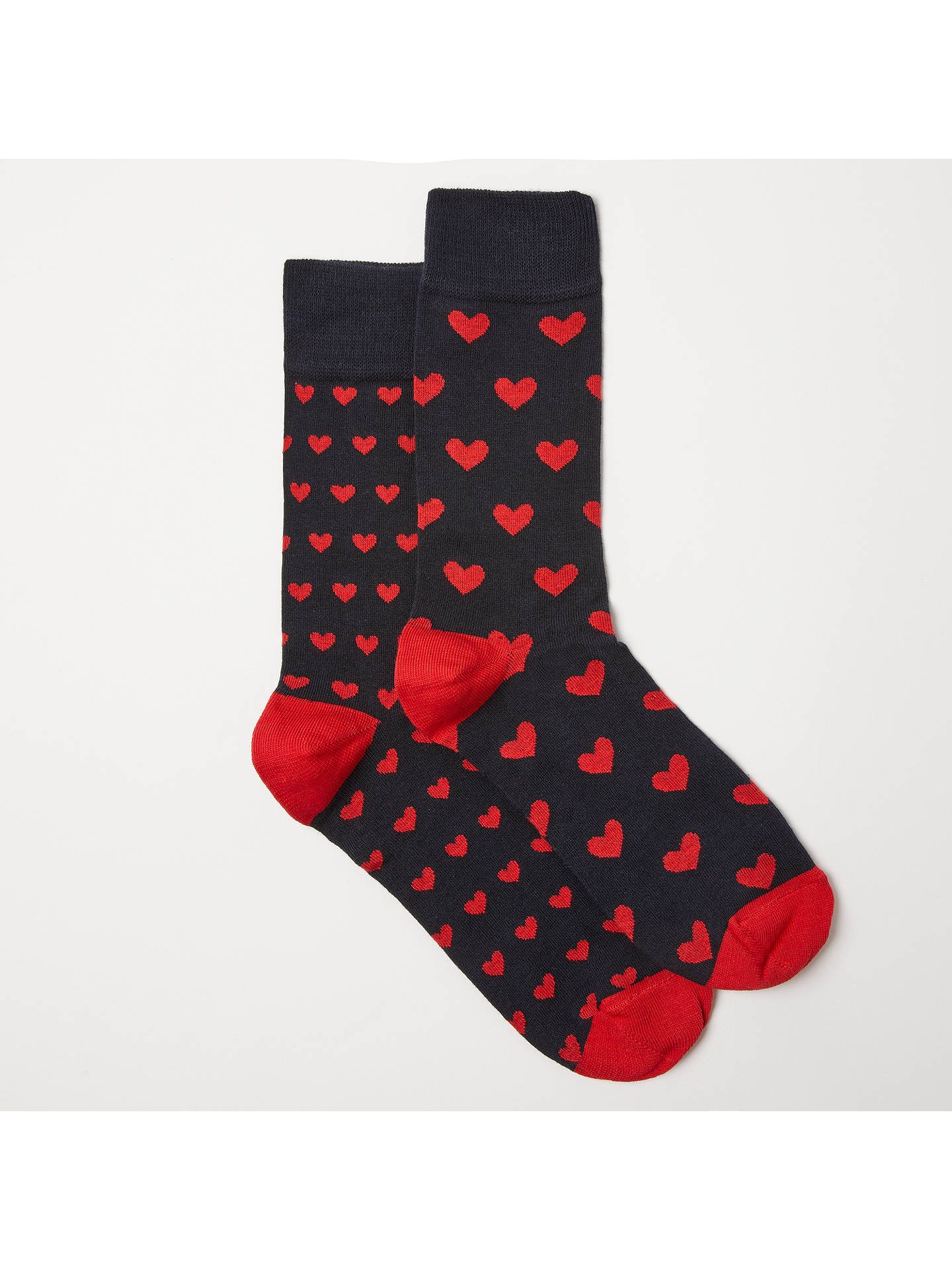 Buy John Lewis Heart Socks, Pack of 2, One Size, Navy/Red Online at johnlewis.com