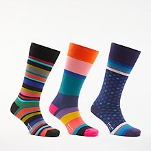 Buy Paul Smith Multi Stripe Dot Socks, Pack of 3, One Size, Blue/Multi Online at johnlewis.com