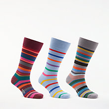 Buy Paul Smith Multi Stripe Socks, Pack of 3, One Size, Pink/Blue/Grey Online at johnlewis.com