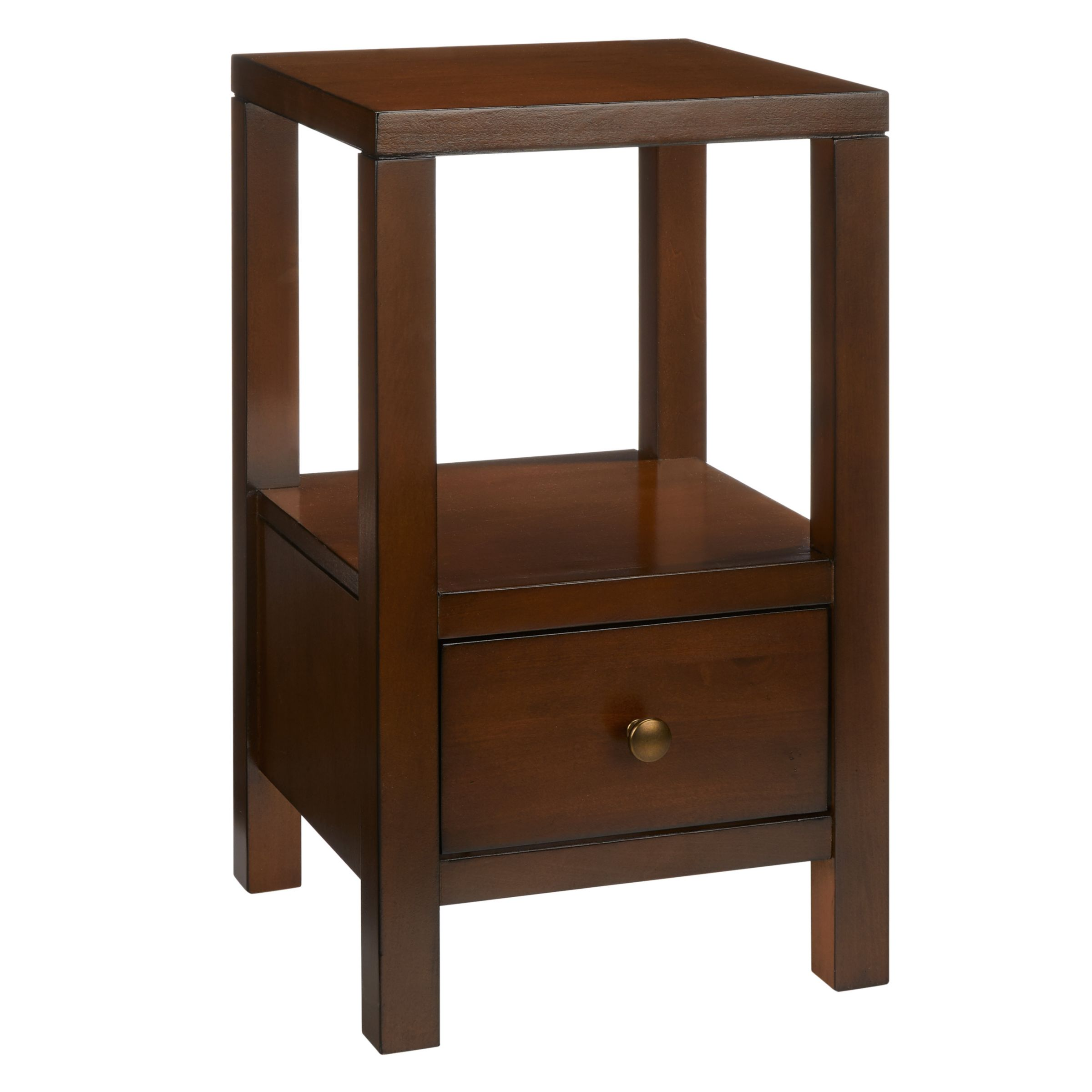 John Lewis Partners Medan 1 Drawer Bedside Table Dark Wood